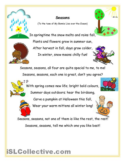 Seasons song and question sheet worksheet - Free ESL printable ...