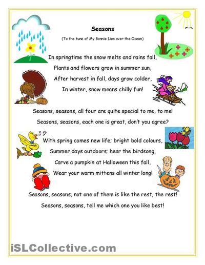 seasons song and question sheet worksheet free esl printable worksheets made by teachers. Black Bedroom Furniture Sets. Home Design Ideas