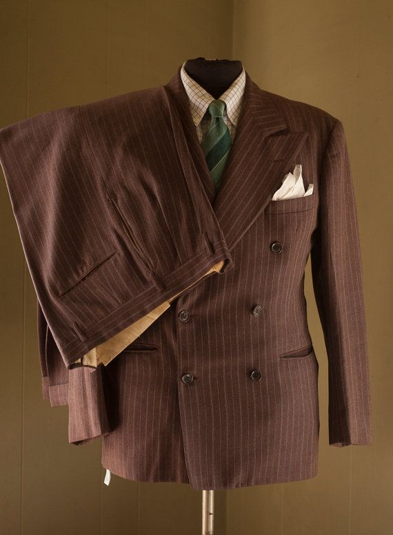 1940s Pinstripe DB suit  Size 40R by thesarahmarieshop on Etsy, $175.00