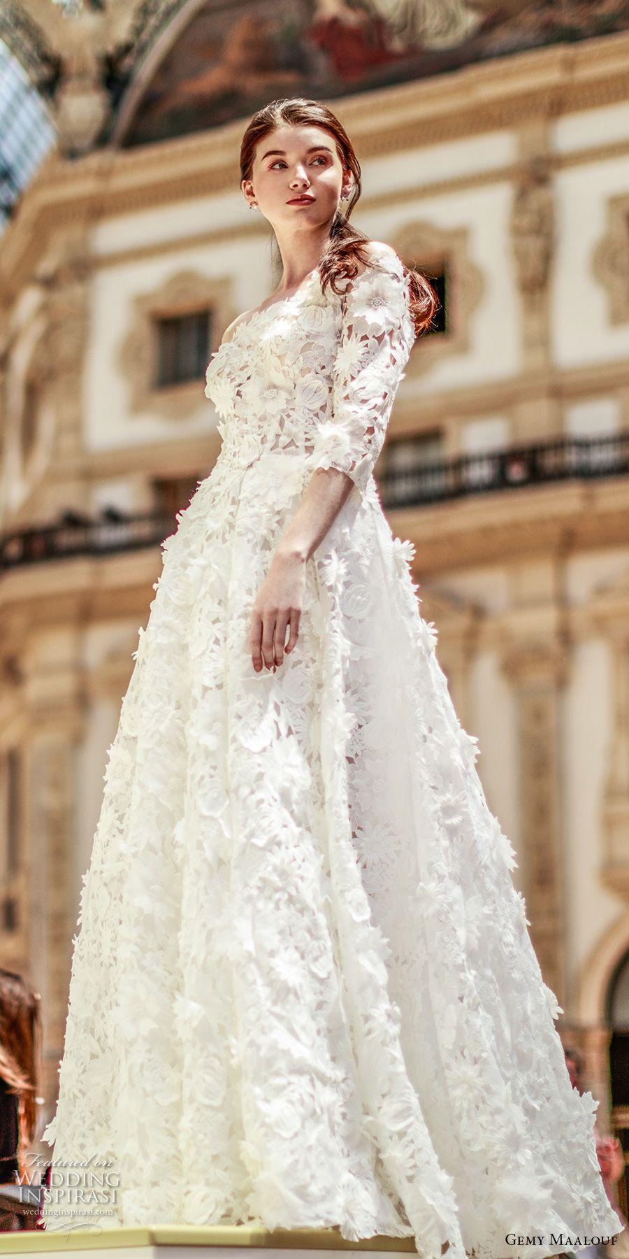 Gemy maalouf wedding dresses quarter sleeve wedding dress