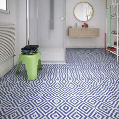Carrelage sol et mur bleu blanc effet ciment Dément l20 x L20 cm - leroy merlin meuble salle de bain neo