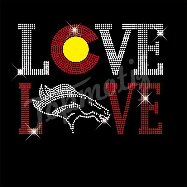 Love Denver Broncos Rhinestone Heat Transfer Wholesale Cheap Price Rhinestone Heat Transfer Heat Transfer Denver Broncos