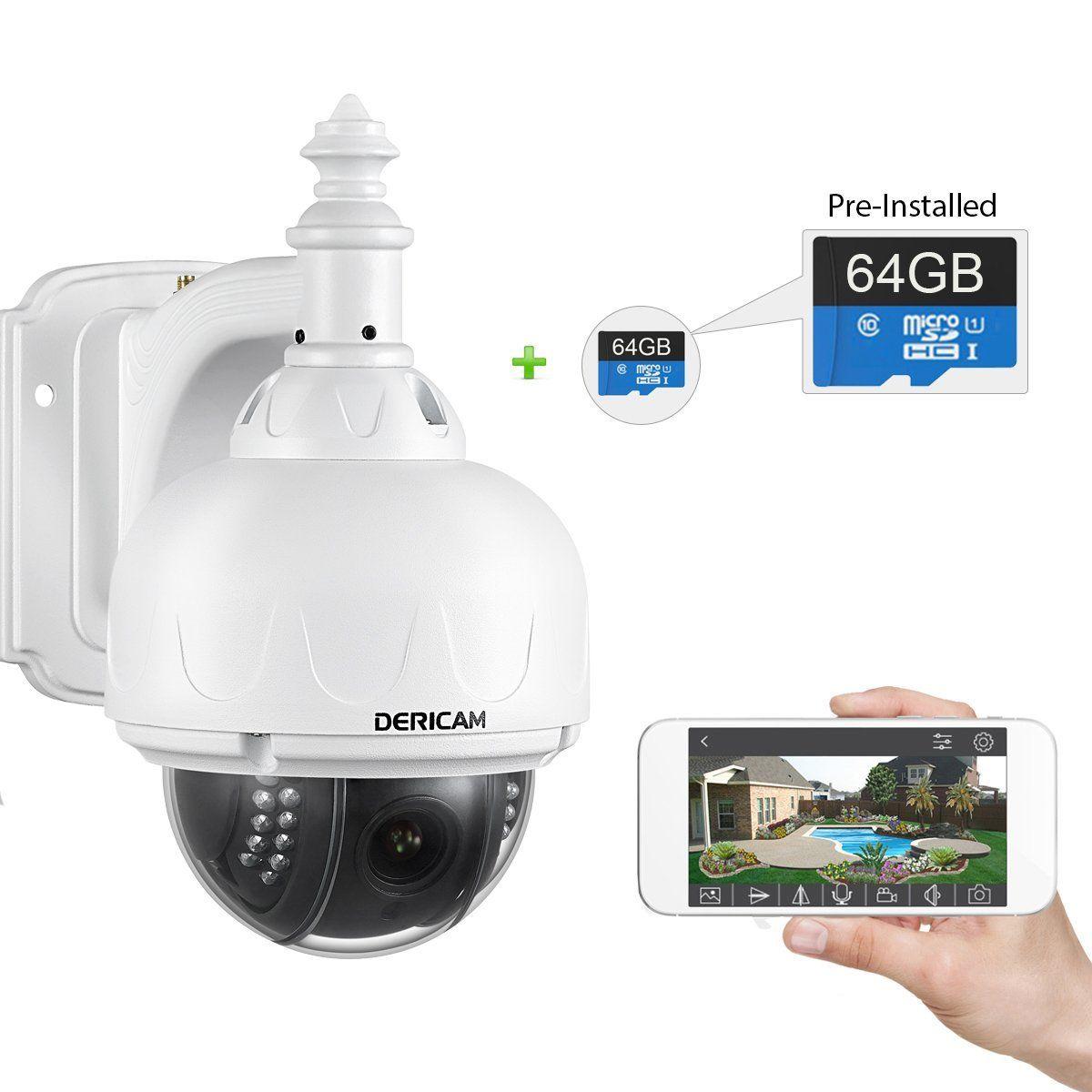 Dericam Wifi Wireless Outdoor Ip Security Camera Ptz Camera 4x Optical Zoom Auto Fo Wireless Home Security Security Cameras For Home Outdoor Security Camera