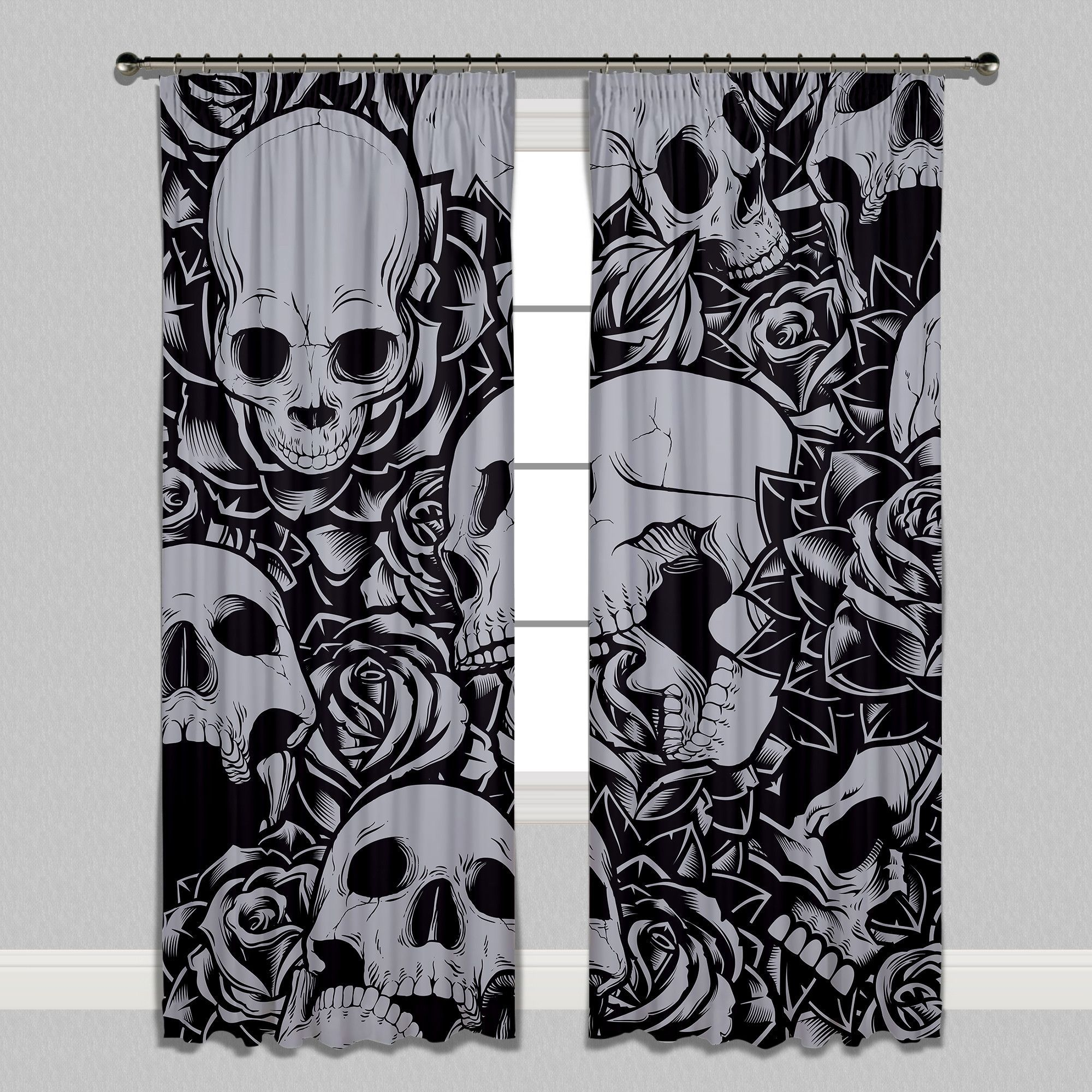 Drowning in Roses Skull Curtains | Gothic home decor ...