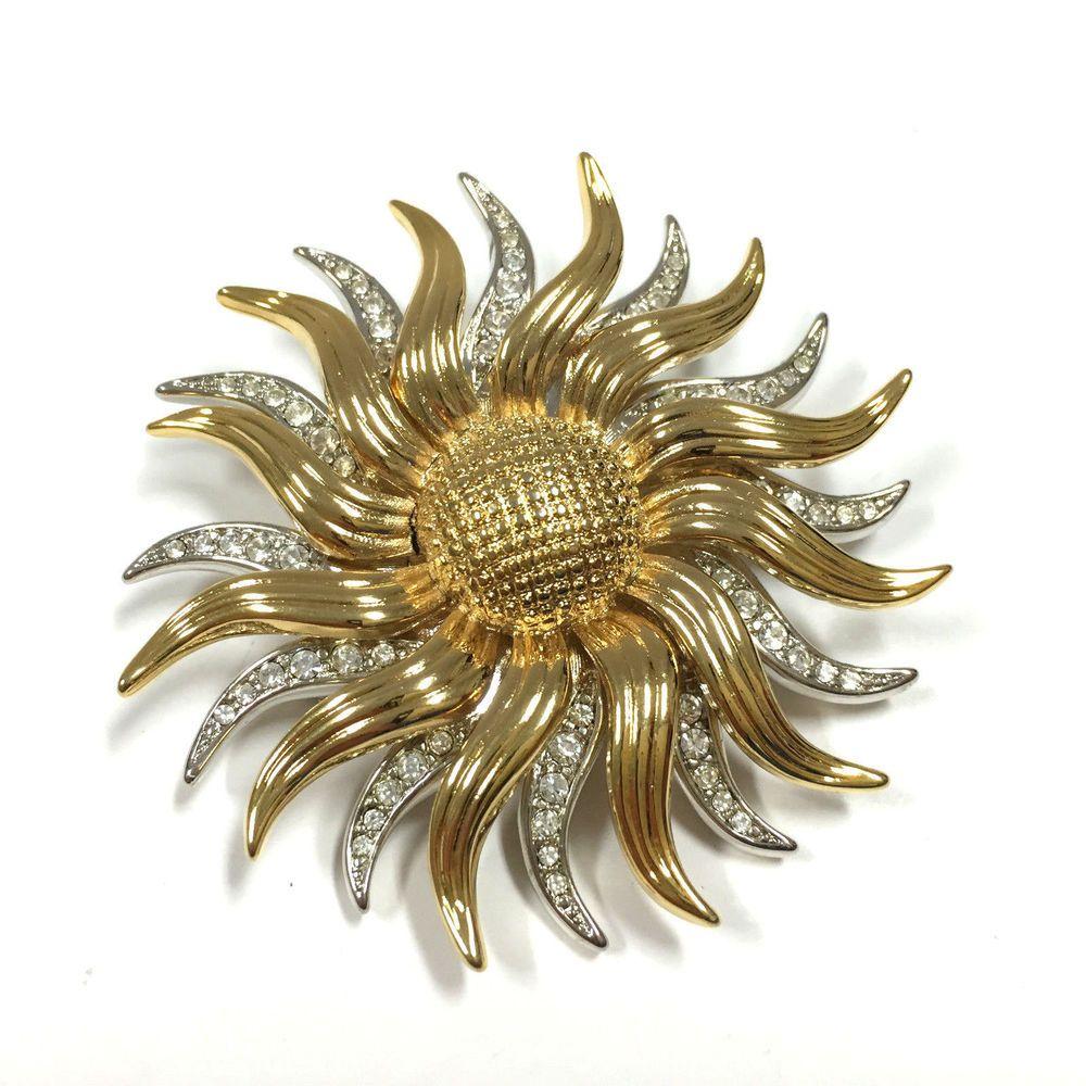 8a5ee291f Vintage Signed KJL Kenneth Lane Rhinestone Sunflower Brooch Pin Pendant  From Dellagraces Vintage Jewelry on Ebay #KennethJayLane