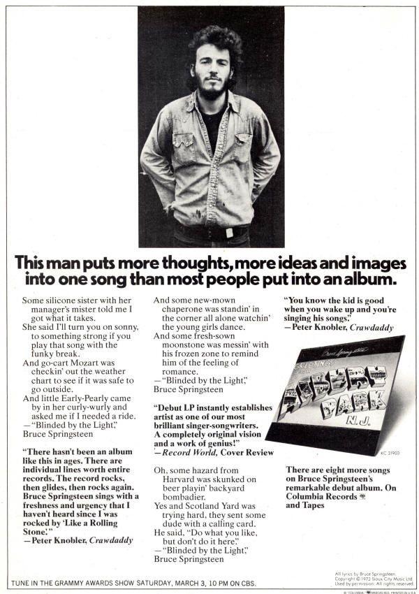 Bruce Springsteen Lyrics Blinded By The Light Album
