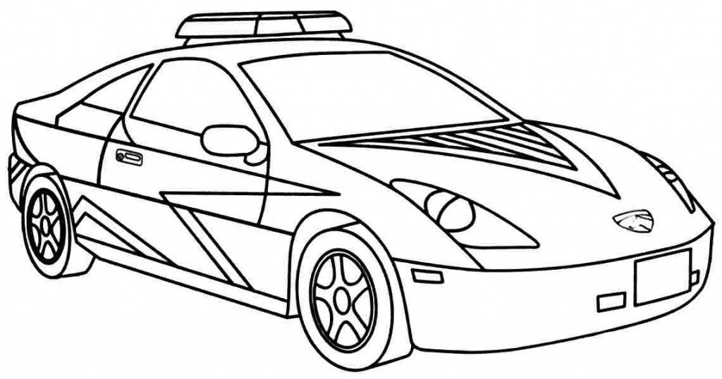 modern super cop car kids coloring page
