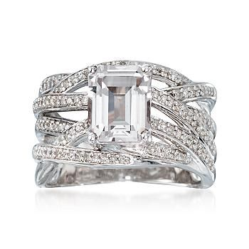 Ross-Simons - 2.60 Carat White Topaz and .30 ct. t.w. Diamond Ring in Sterling Silver