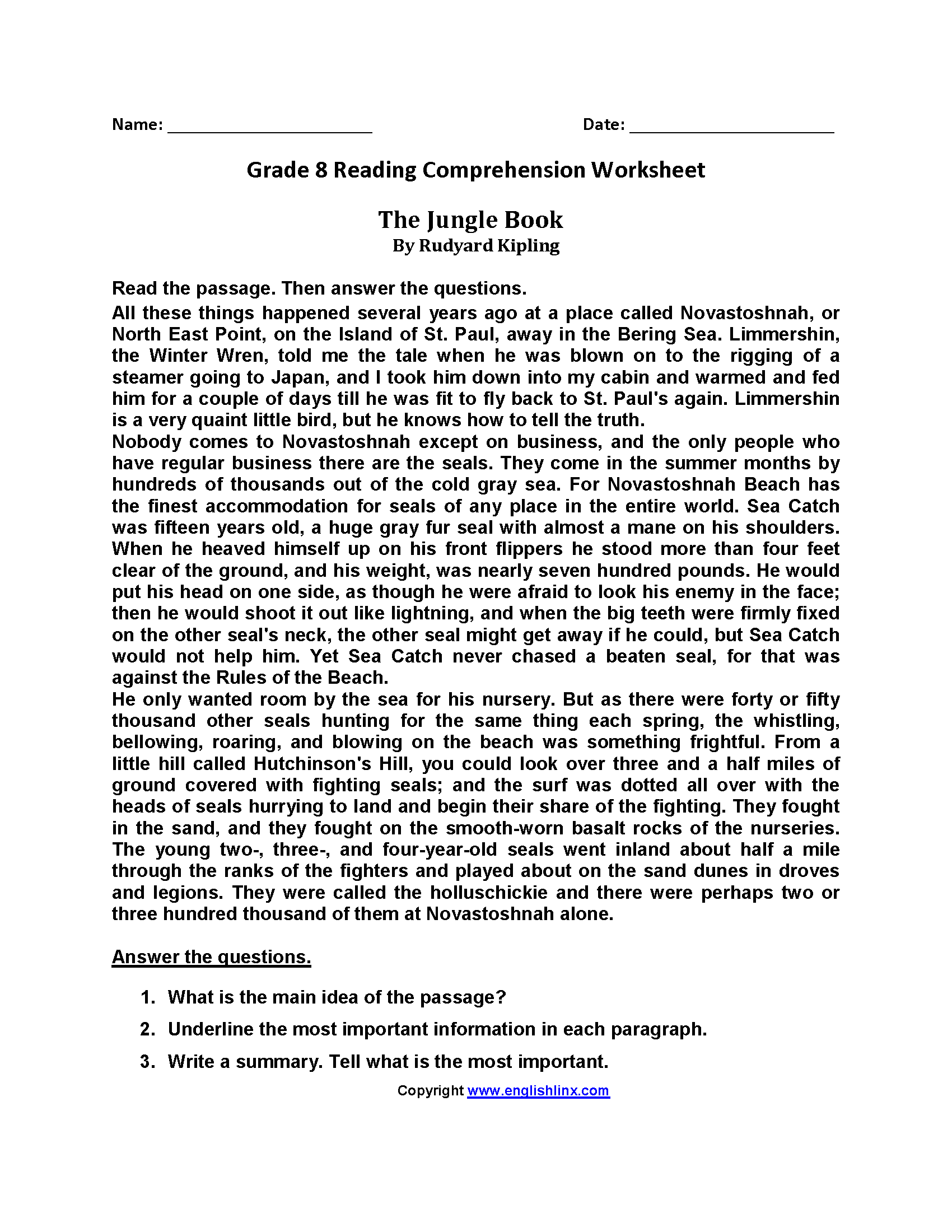 The Jungle Book Eighth Grade Reading Worksheets