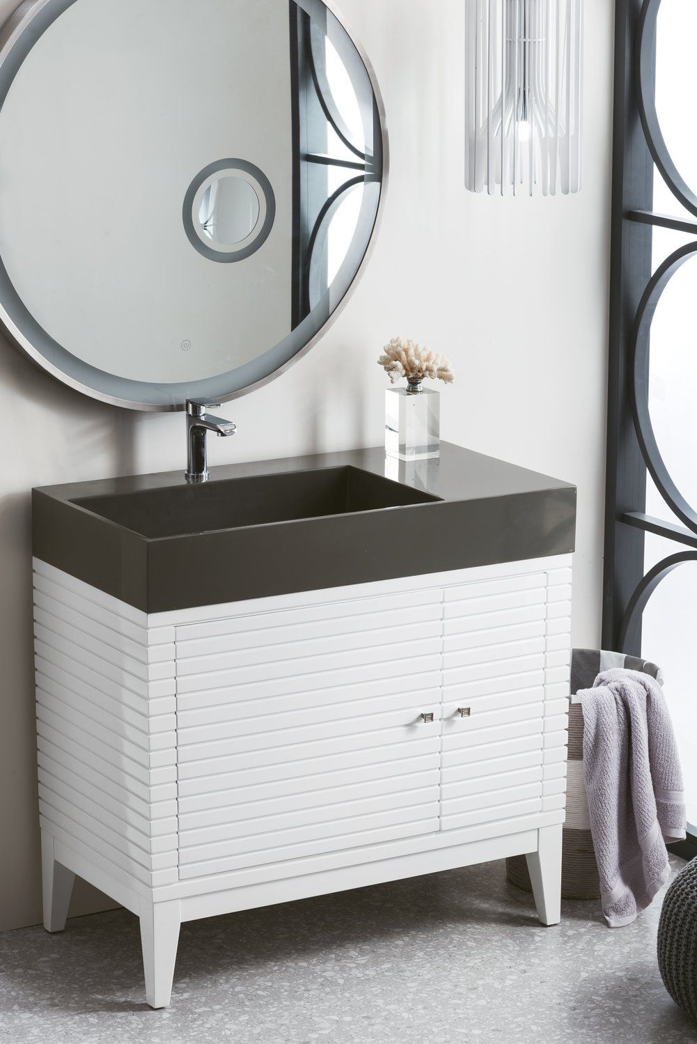 "36"" Linear Single Bathroom Vanity, Glossy White Single"