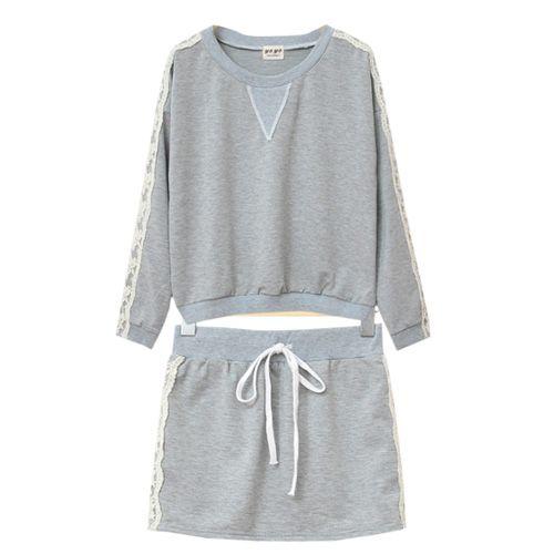Lace Joint Sport Sweatshirt Short Skirt Suit