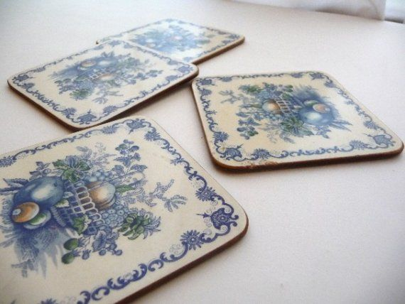 Coasters Vintage Coasters Set of Four PIMPERNEL by myvintagedreams, $7.00