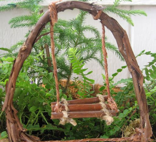 My Handmade Fairy Garden Twig Swing Fairy Garden Accessories