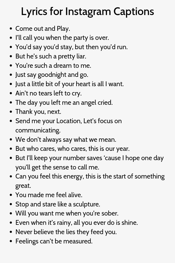 Lyrics For Instagram Captions In 2020 Funny Instagram Captions Witty Instagram Captions Instagram Caption Lyrics