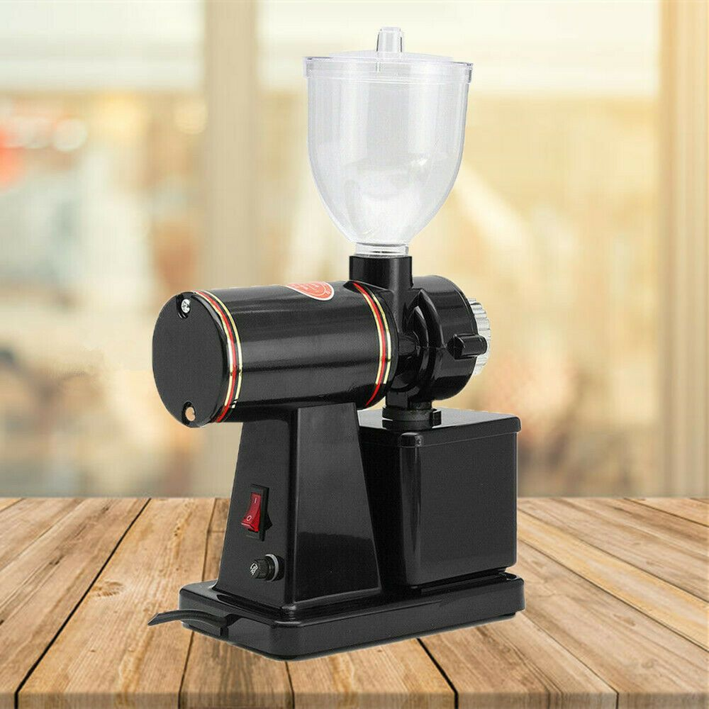 Black Commercial Coffee Grinder Electric Automatic Burr