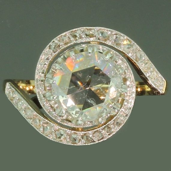 Reserved for Shannon - Antique Diamond 18K Yellow Gold Engagement Ring Victorian Art Nouveau Jewelry ref.13290-0136 on Etsy, $6,426.32 AUD