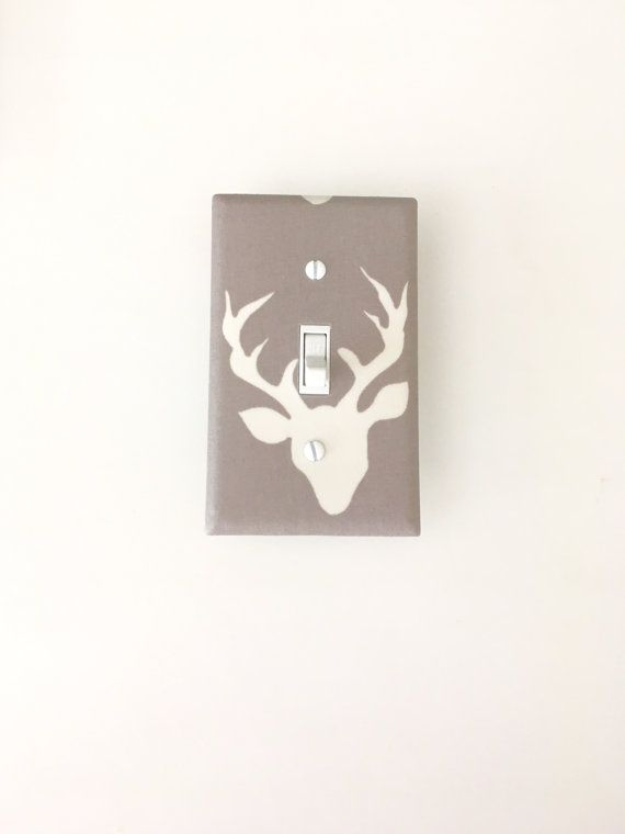12 75 Woodland Deer Light Switch Plate Nursery Cover Kids Room Forest Mist Outlet Switchplate Hello Bear Buck