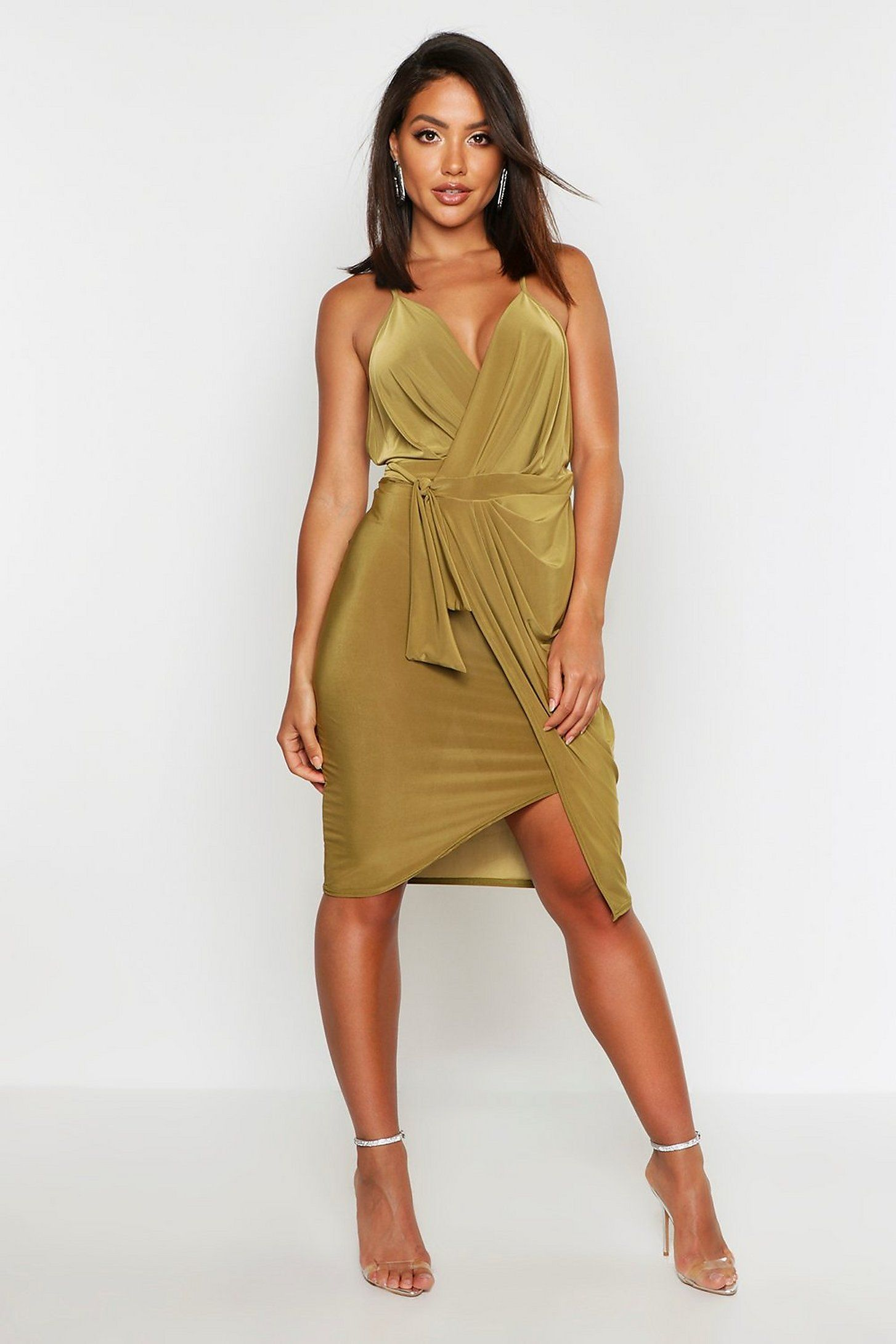 Wrap Over Exposed Side Detail Slinky Midi Dress Boohoo Midi Dress Dresses Green Midi Dress