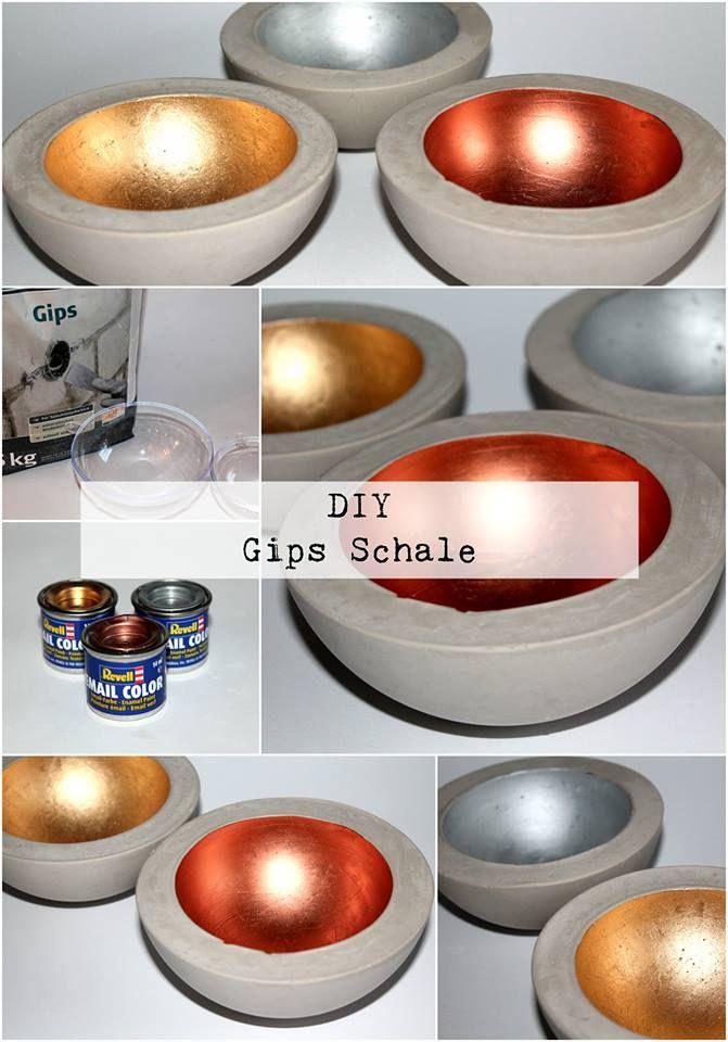 Betonschale Diy diy gips beton schale in kupfer silber und gold diys creative