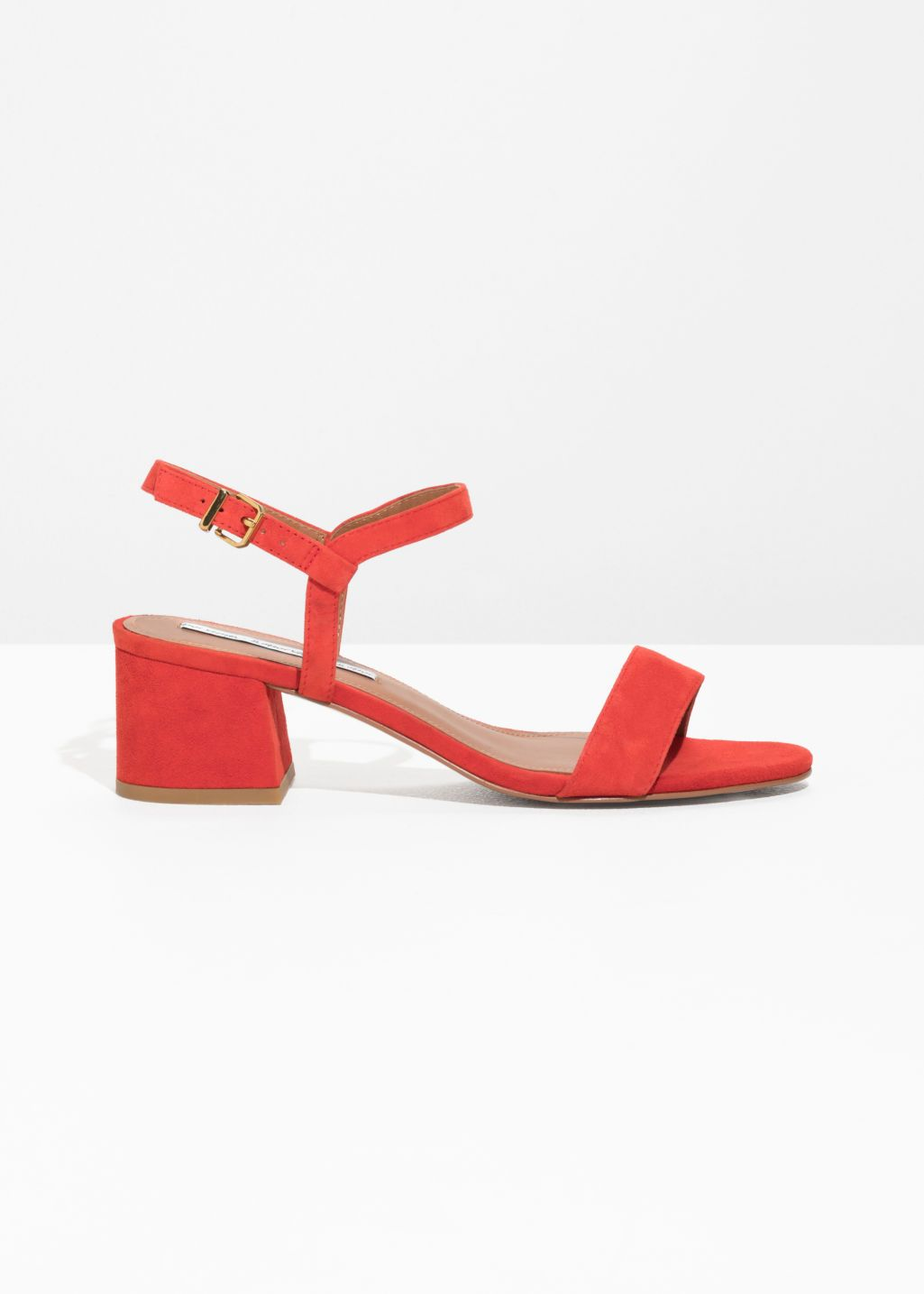 388ec85a00bd5 Front image of Stories mid heel sandals in red