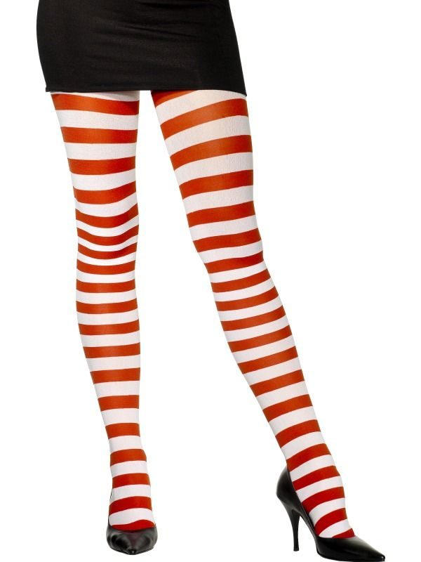 Candy Striped Holiday Christmas Striped Thigh Highs Womens Fancy Dress Accessory