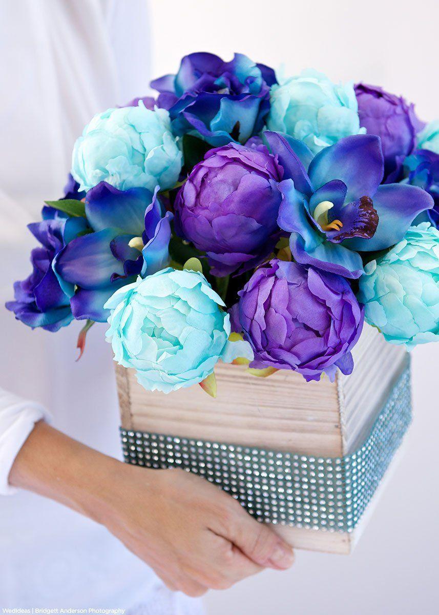 Cymbidium Orchid Silk Flower Spray In Blue 36 Tall With 10 Flowers In 2020 Wedding Centerpieces Diy Blue Purple Wedding Centerpieces Wedding Centerpieces Diy Purple