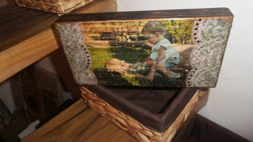Lace and photo transferred on wood