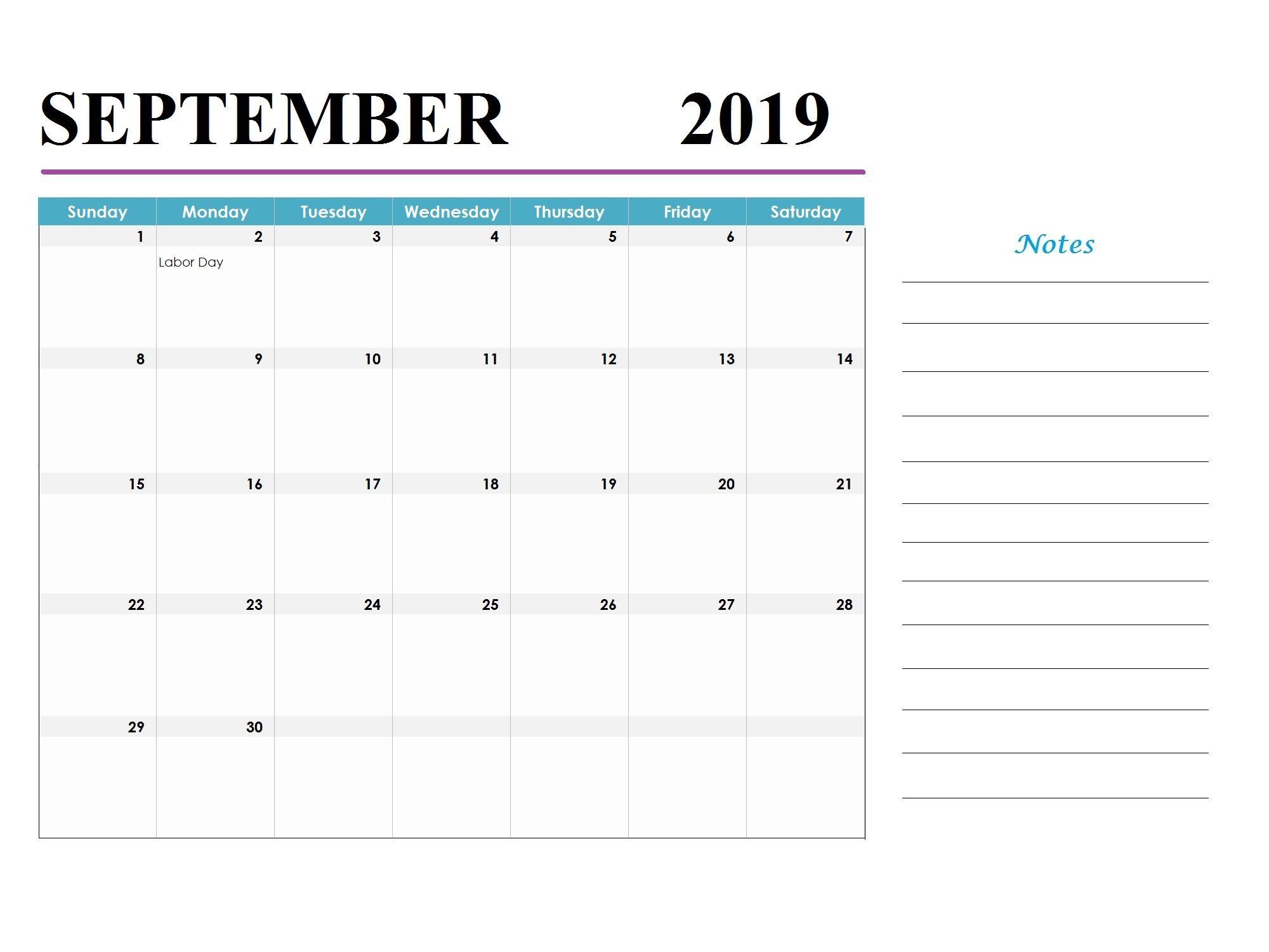 September 2019 Holidays Calendar Template Monthly Calendar