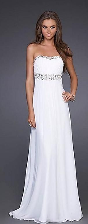 Embellished A-Line Sleeveless Empire White Chiffon Prom Dresses Sale prom dress prom dresses tkzdresses54595dhty #prettydresses #promdress