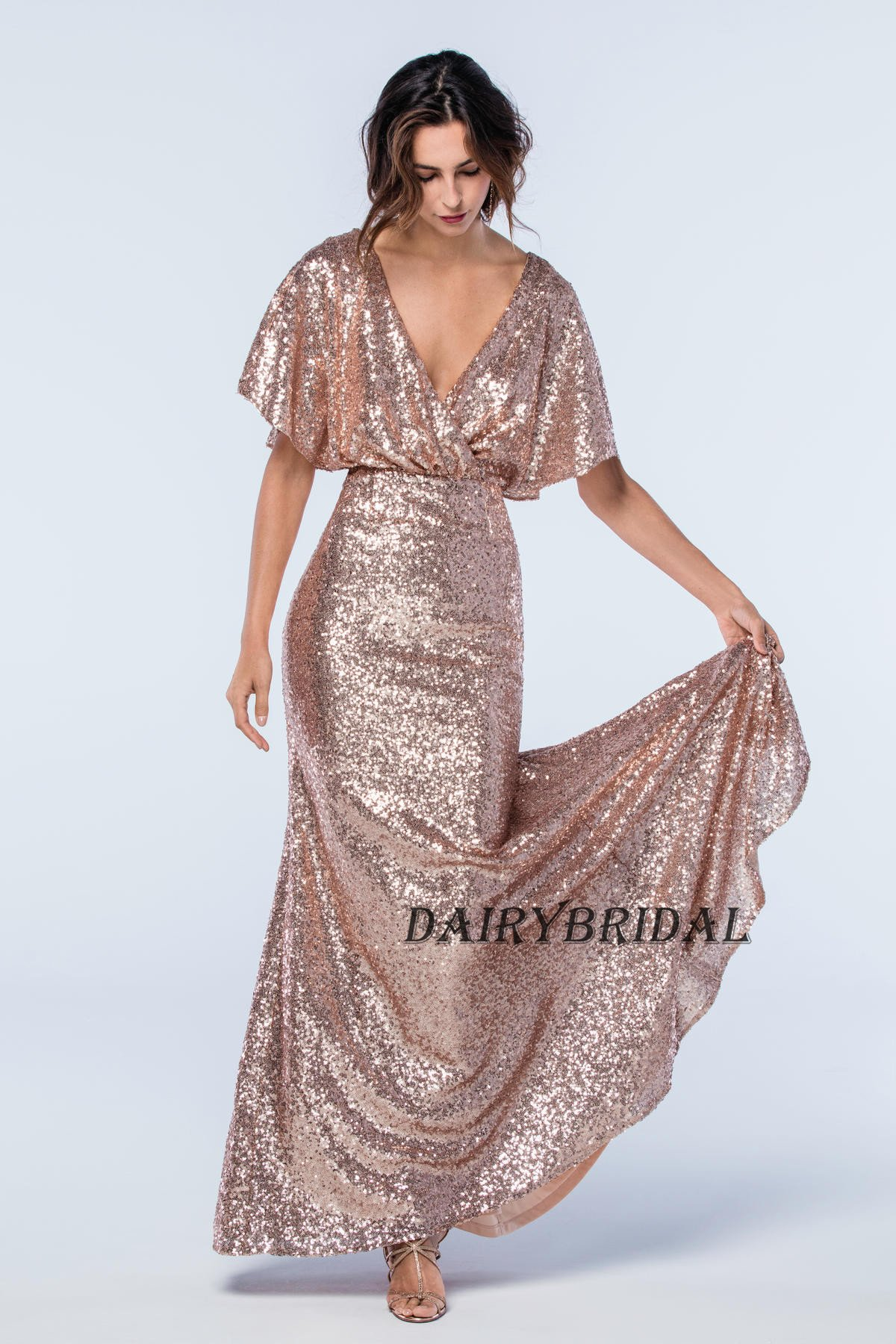 Vneck bridesmaid dress sequin bridesmaid dress backless