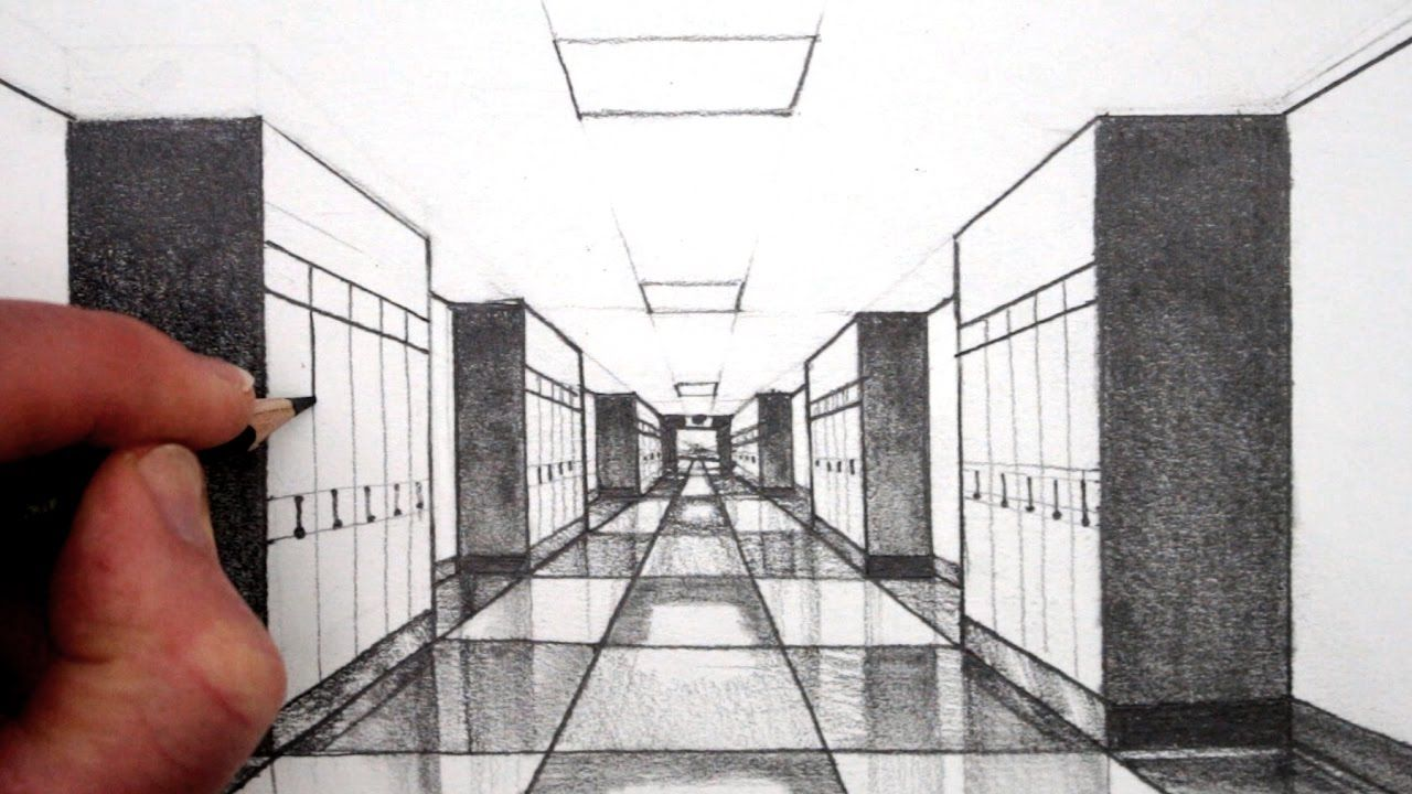 How to Draw 1Point Perspective for Beginners A Hallway