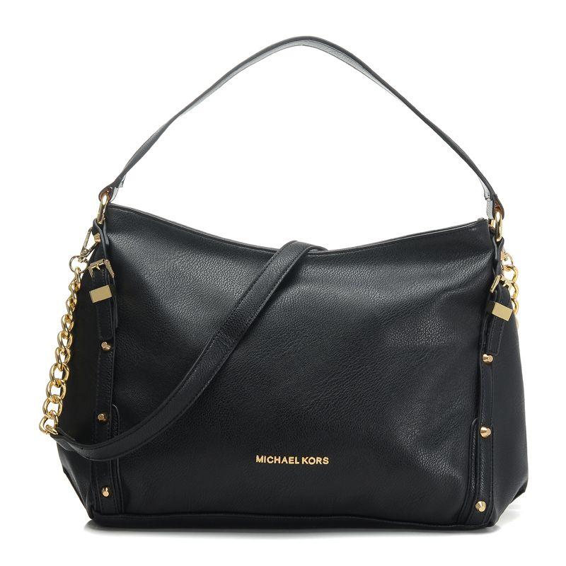 7478136f87 Michael Kors Leigh Stud Large Black Shoulder Bag