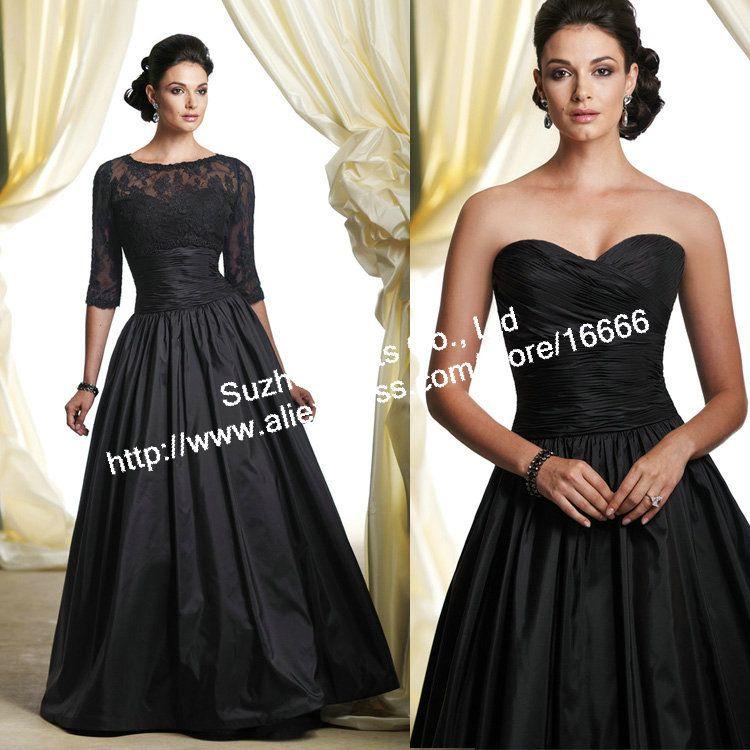 mother of the bride dresses 3/4 sleeve | Pleated 3 4 Sleeve Black ...