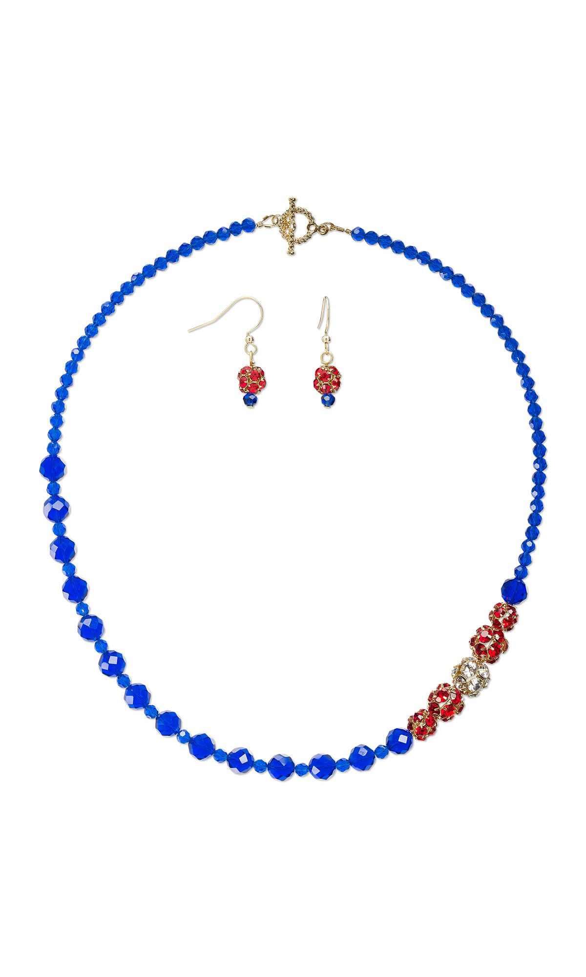 Jewelry Design - Single-Strand Necklace and Earring Set with Celestial Crystal® Beads and Silver- and Gold-Finished Brass with Glass Rhinestone Beads - Fire Mountain Gems and Beads