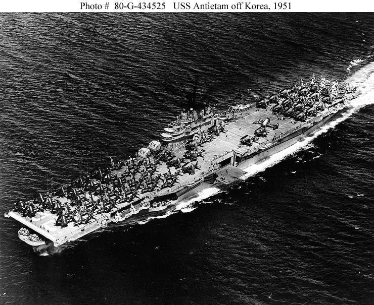 USS ANTIETAM (CV36). She has Air Group 15 embarked. Photo