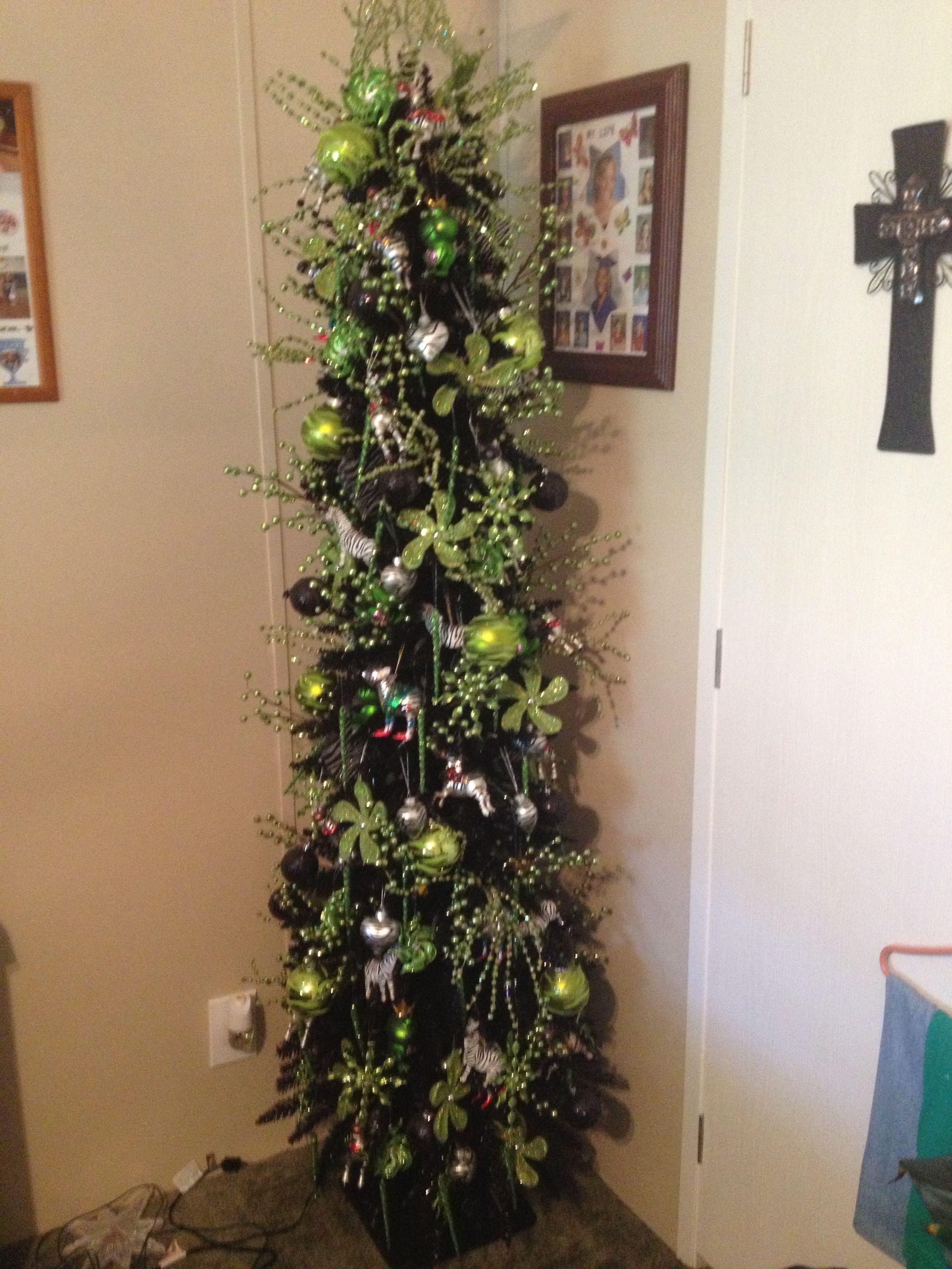 Lime Green Black Zebra Christmas Tree Decorations Christmas Tree Christmas Baubles