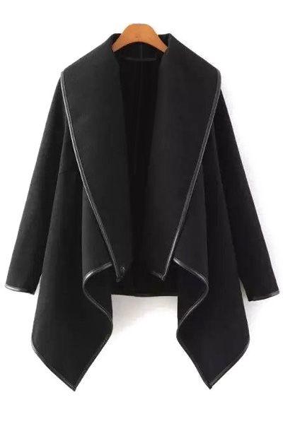Large Lapel Irregular Hem Wool Coat