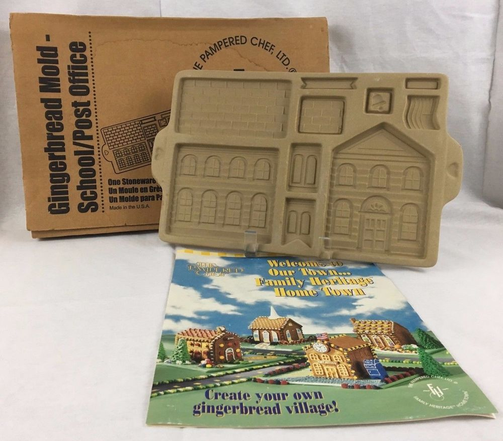 Pampered Chef School Post Office Gingerbread House Kit Mold Stoneware 1805 Box Pamperedchef Gingerbread House Kits Pampered Chef Gingerbread