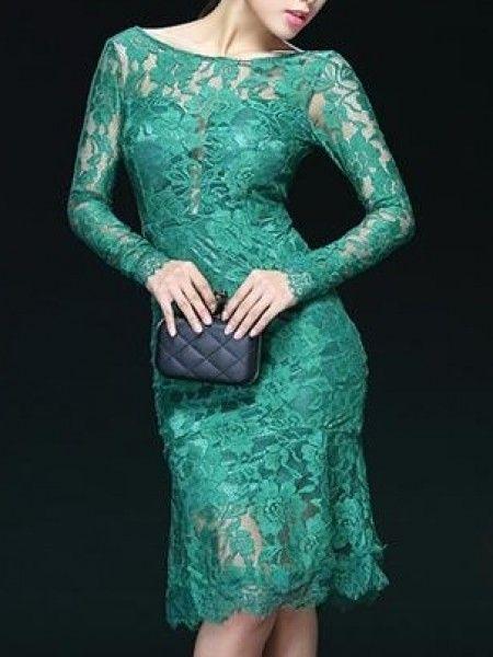 Fashion mia green lace dress