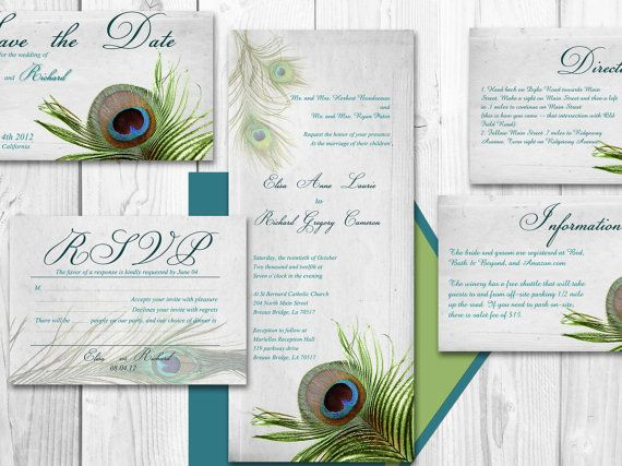 Atlanta Wedding Invitations: PEACOCK WEDDING INVITATION Printable Template Atlanta By