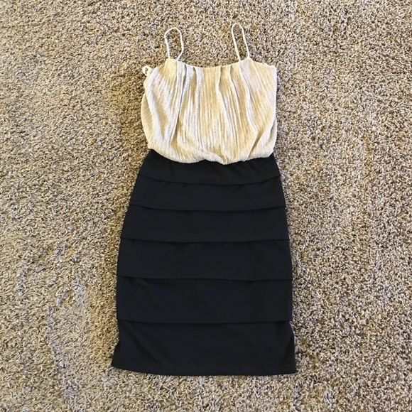 Two tone party dress Gold top. Fitted. NWOT. Not from Bebe but listed for exposure bebe Dresses Mini