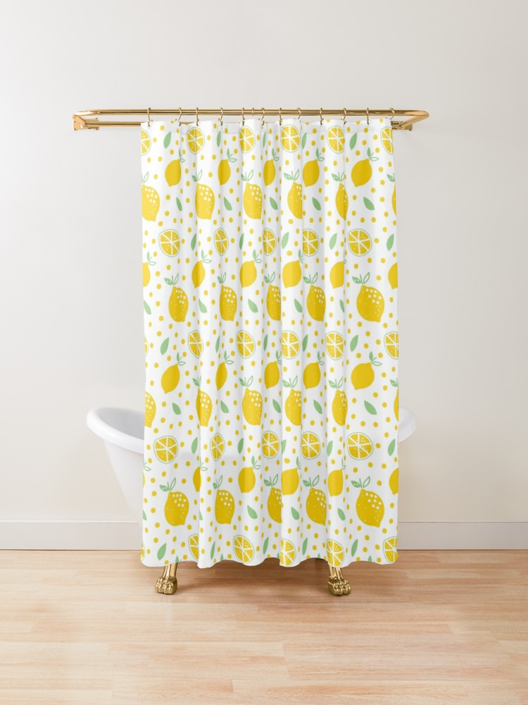 Yellow Lemon Print Pattern Shower Curtain By Semas In 2020 Patterned Shower Curtain Lemon Print Print Patterns