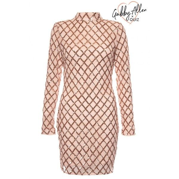 Gabby\'s Nude And Rose Gold Sequin Bodycon Dress ($59) ❤ liked on ...