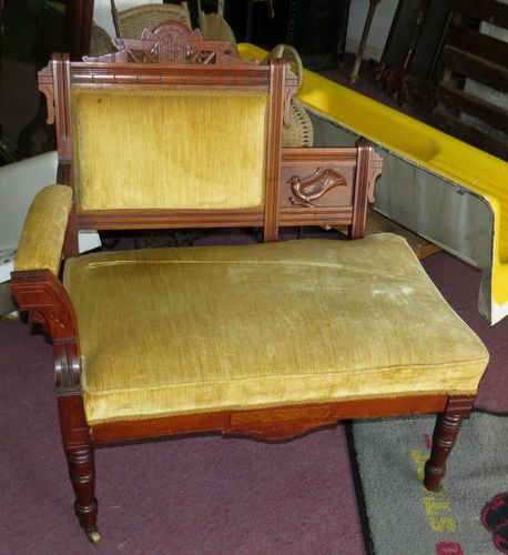 1890 S Antique Walnut Burl Eastlake Victorian Settee Chair Carved Duck Bird Ebay Antique