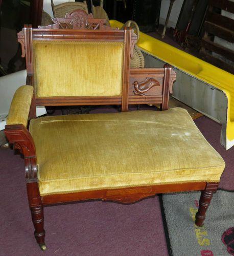 1890 S Antique Walnut Burl Eastlake Victorian Settee Chair
