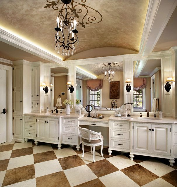 Luxury Traditional Bathroom Design Interior With Chessboard Flooring Ideas Also White Vanity Cabinets And Storage