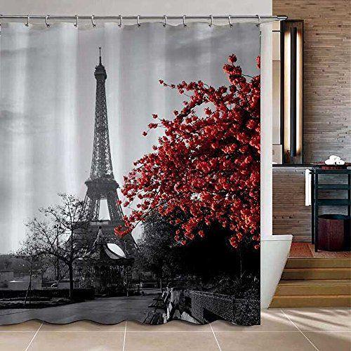 Uphome 72 X 78 Inch Waterproof Grey Paris Eiffel Tower Custom Bathroom Shower Curtain Cityscape Paris Bathroom Decor Paris Bathroom Bathroom Shower Curtains