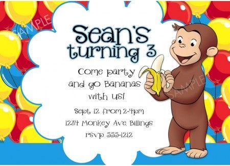 Curious George Invitation Birthday Party Ideas Curious George