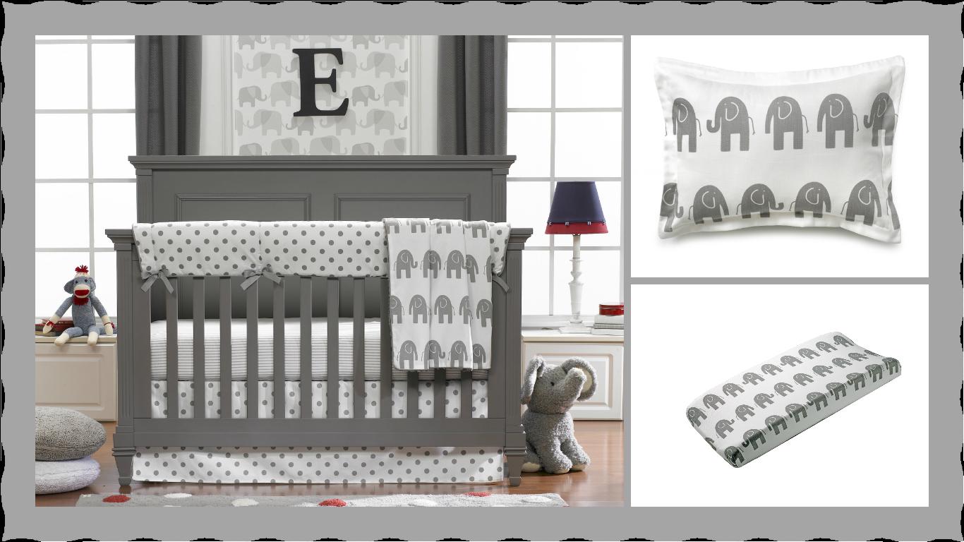 Liz And Roo Gray Elephant Crib Bedding Gender Neutral Nursery