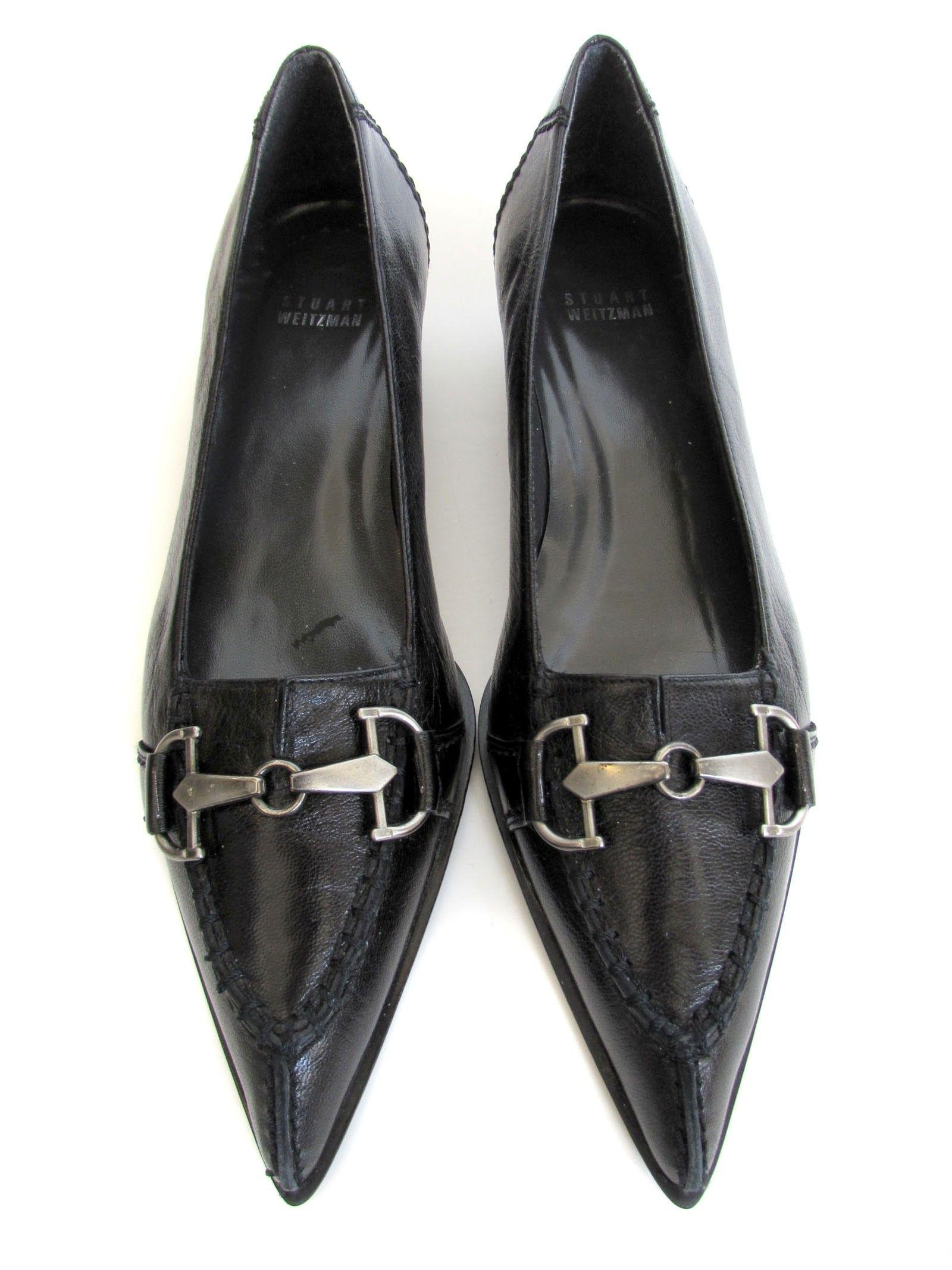 Stuart Weitzman Black Pointed Toe Kitten Heels... Stylish